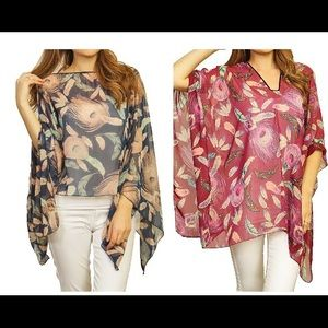 Accessories - Sheer Floral Poncho
